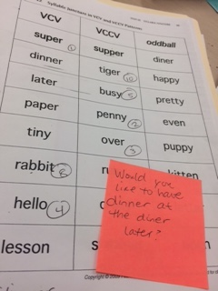 Sort with words noted for assessment. Dictated sentence is on the sticky note.